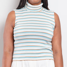 Load image into Gallery viewer, 90s Striped Sleeveless Turtleneck