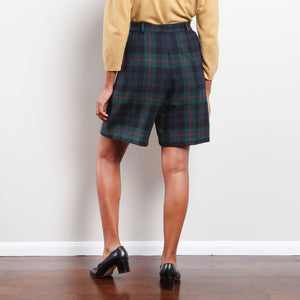90s Wool Plaid Shorts