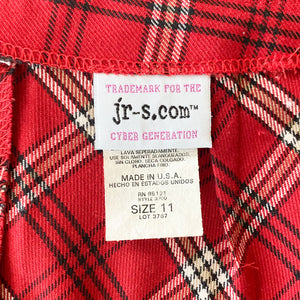 90s/2000s High Waisted Red Plaid Skirt