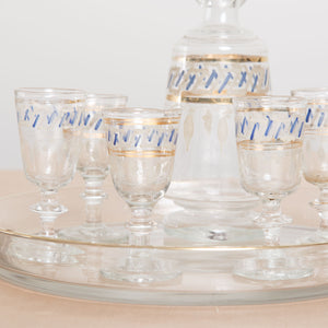 Antique Decanter and Cordial Glasses Set with Tray