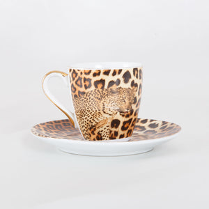 Cheetah Espresso Cup and Saucer