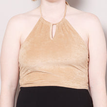 Load image into Gallery viewer, Deadstock 90s Faux Suede Halter Crop Top