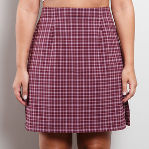 Deadstock 90s Plaid Skirt in Purple