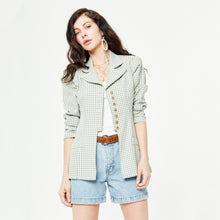 Load image into Gallery viewer, Pale Green Gingham Blazer