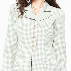Pale Green Gingham Blazer