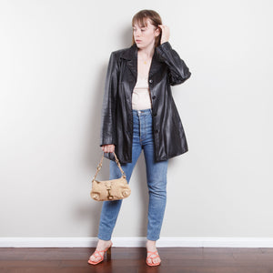 Grungy Wilsons Leather 90s Trench Coat