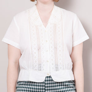 50s White Crop Top