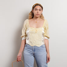 Load image into Gallery viewer, Vintage Yellow Milkmaid Crop Top