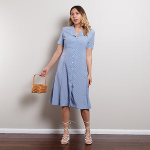 Vintage Blue Polka Dot Midi Dress