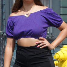 Load image into Gallery viewer, Cropped Purple Puff Sleeve Top