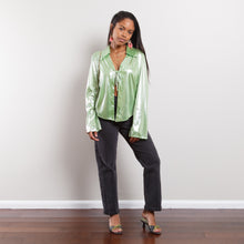 Load image into Gallery viewer, 80s/90s Slinky Green Blouse