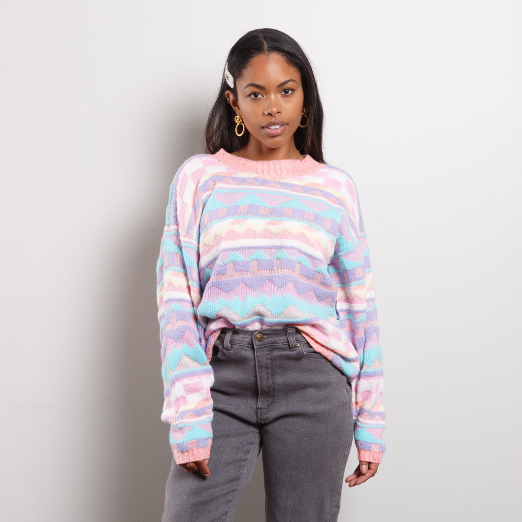80s Multicolor Pastel Sweater