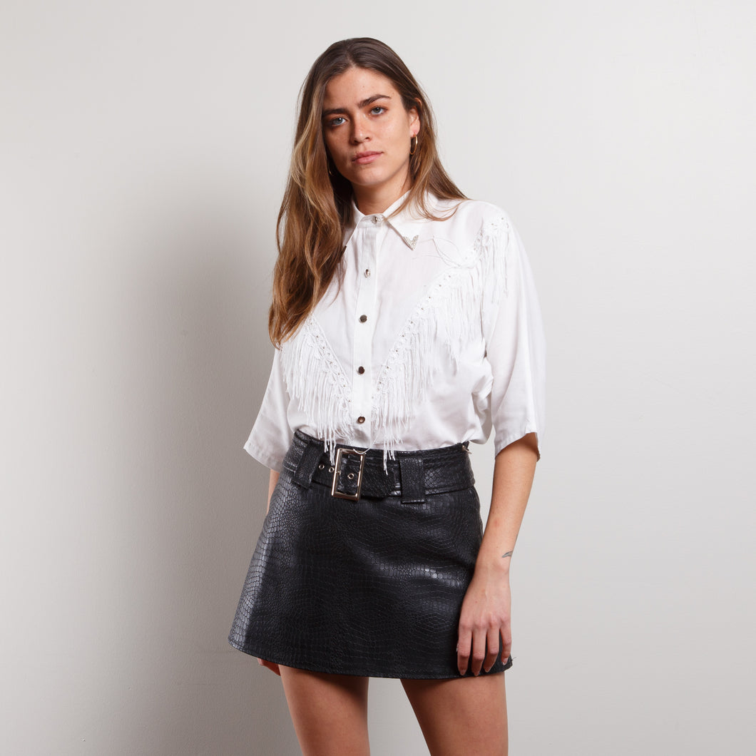 90s Western Fringe Button Up