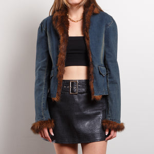 90s Faux Fur Lined Denim Jacket