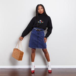Dark Acid Wash Jean Skirt