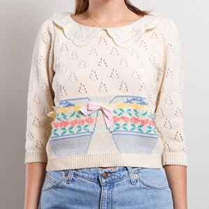 80s Cream Bow Sweater