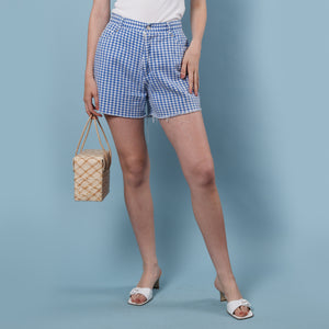 90s Blue Gingham Shorts