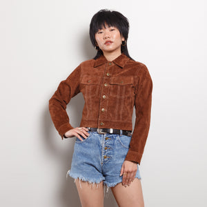 90s/2000s Brown Suede Cropped Jacket