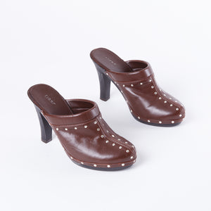 Brown Studded Clogs