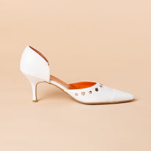 Load image into Gallery viewer, Studded White Leather Heel