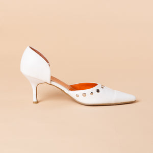 Studded White Leather Heel