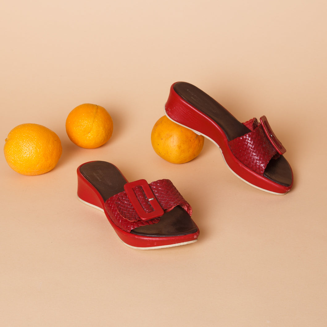 Red Leather Buckle Sandals