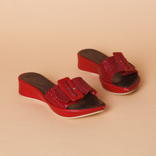 Load image into Gallery viewer, Red Leather Buckle Sandals