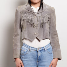 Load image into Gallery viewer, Vintage Suede Gray Fringe Jacket