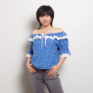 80s Off The Shoulder Blue Top