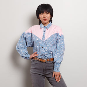 Vintage Pink and Blue Paisley Western Blouse