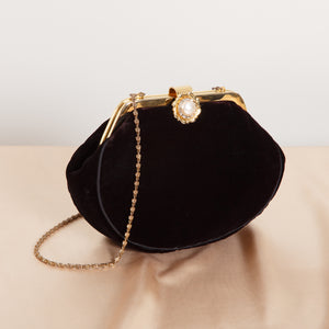 80s/90s Black Velvet Coin Purse