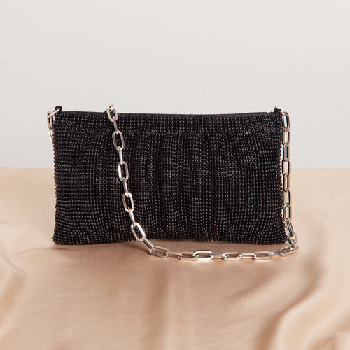 90s Black Beaded Purse with Chain