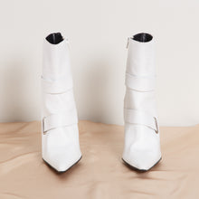 Load image into Gallery viewer, Stiletto White Leather Booties