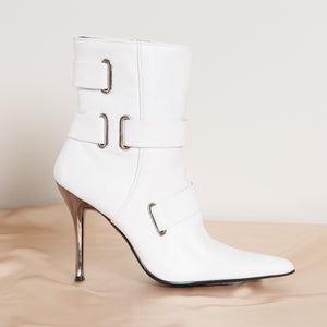 Stiletto White Leather Booties