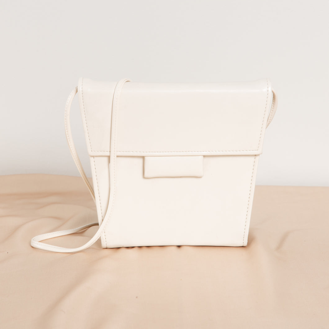 White Leather Shoulder Purse
