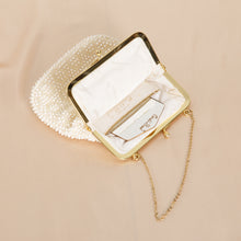Load image into Gallery viewer, Vintage White Beaded Purse with Mirror