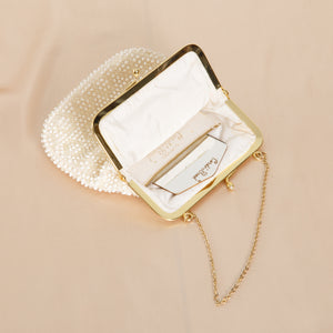 Vintage White Beaded Purse with Mirror