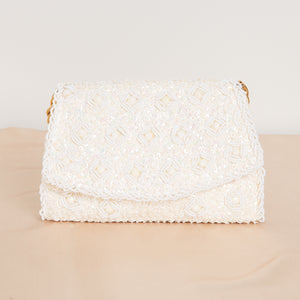90s Beaded Cream Purse with Gold Chain