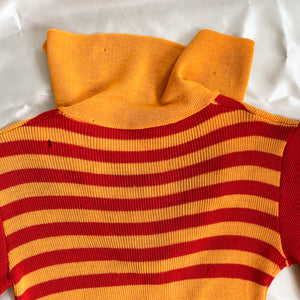 100% Wool Scarlet and Gold 70s Dress