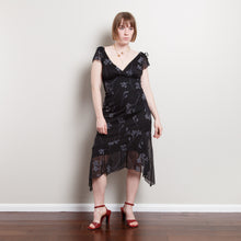 Load image into Gallery viewer, 90s Black Floral Midi Dress