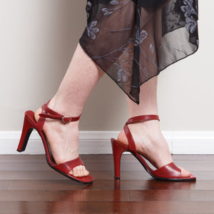 Vintage Red Leather High Heel