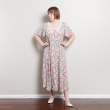 Load image into Gallery viewer, 80s Button Up Peasant Dress