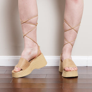 Y2K Straw Lace Up Wedges