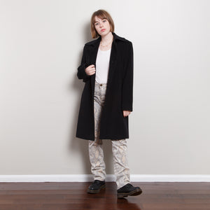 90s/2000s Black Wool Blend Peacoat