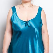 Load image into Gallery viewer, Satin Turquoise Slip Dress