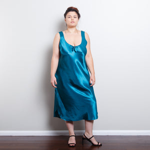 Satin Turquoise Slip Dress