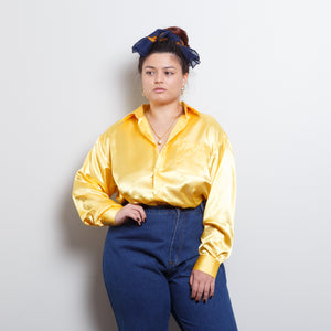 90s Satin Gold Blouse
