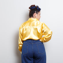 Load image into Gallery viewer, 90s Satin Gold Blouse
