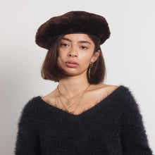 Load image into Gallery viewer, Leather Furry Beret