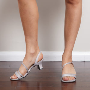 Strappy Silver 90s Low Heel